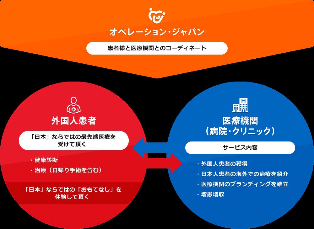 オペレーション株式会社の医療ツーリズムサービスの概略図
